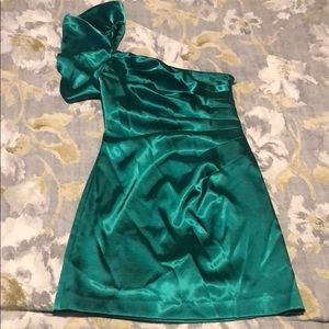 Green satin one shouldered cocktail dress